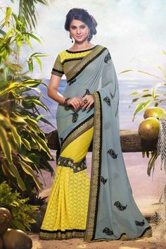 Georgette Saree With High Neck Blouse