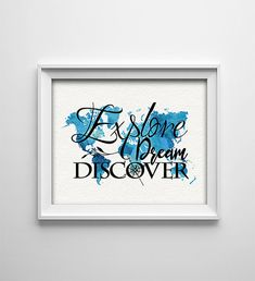 INSTANT DOWNLOAD 8X10 printable digital art file - Explore Dream Discover - World map - Compass - Inspirational - House warming gift  This listing is for a digital file instant download. Nothing will be mailed to you.  DETAILS **PLEASE READ ------------------------------------------------------------------------------------------------ • A high quality (300 dpi) digital file that will be instantly available for download in both JPG and PDF format, once payment is successfully processed. • It…
