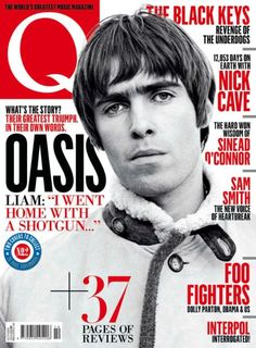 Oasis on the cover of a magazine increasing the awareness and popularity of the band.