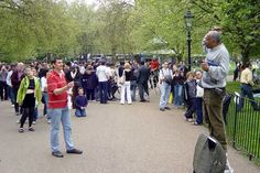 Speakers' Corner, Hyde Park. A gathering place for debate, arguments and free speech.  Love it.
