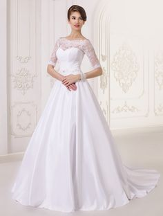 Dresses - Long Satin Lace Wedding Dress - S / white - My Best Dress - 1