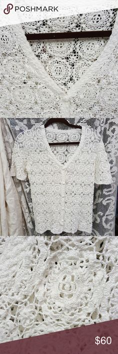 81a73fd305 Hand made crocheted button down Now this is truly a work of art, hand done