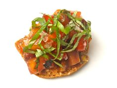 Rustic Heirloom Tomato Bruschetta with Grilled Peached, Basil, and Balsamic | Downtown Epicure