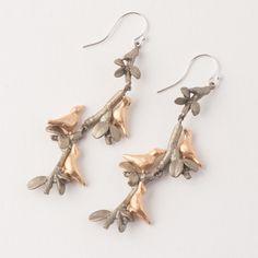 Michael Michaud Birds in the Boxwood Drop Earrings