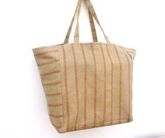 Capacious Heavy Linen Tote Natural Umber by didyoumakeityourself
