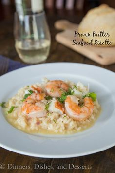 Brown Butter Seafood Risotto by Dinners, Dishes and Desserts: Guest Post on Cravings of a Lunatic | Creamy, nutty, rich, and buttery!