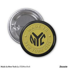 """Made in New York button is reminiscent of an old subway token with the words, """"Made in New York City"""", on the outside of the circle with the initials, NYC in the center. This fun vintage design makes a perfect gift for native New Yorkers, NY tourists, big city lovers, or token collectors."""
