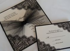 Black and cream wedding invitation| Chanel themed wedding ideas