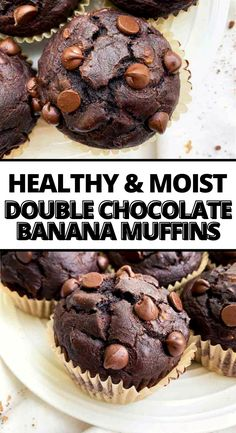 WOW! These are the BEST double chocolate peanut banana muffins EVER! I love that this recipe is made with clean ingredients and the peanut butter flavor. They come out perfect and moist every time! My kids are obsessed with these healthy chocolate muffins and so am I! #muffins #chocolatemuffins
