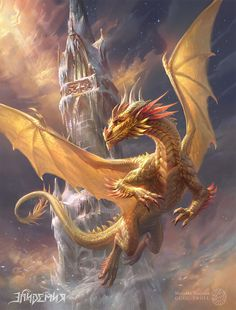 Gilthias, the Golden Dragon by gugu-troll on DeviantArt - character design Dark Fantasy Art, Final Fantasy Art, Beautiful Fantasy Art, Fantasy Artwork, Fantasy Images, Dragon Images, Dragon Pictures, Mythical Creatures Art, Magical Creatures