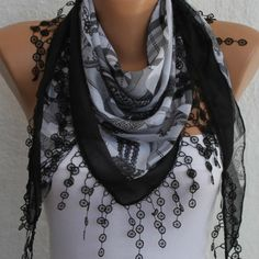 Gray  Scarf   Cotton Scarf Headband Necklace Cowl with by fatwoman, $17.00