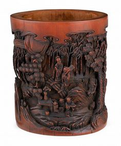 Chinese bamboo brushpot  qing dynasty Carved with seven sages among bamboo and pine groves.   H: 6 1/2 inches