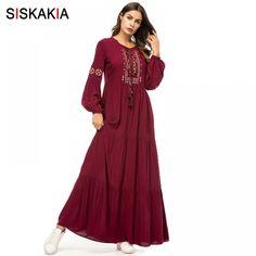 0da225f20a Siskakia Vintage Ethnic Geometric Embroidery Women Long Dress Autumn Fall  2018 Casual Maxi Dresses Long Sleeve Draped Swing Red Price  34.93   FREE  Shipping ...