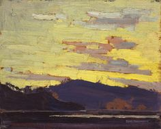 Yellow Sunset, Tom Thomson, one of the Group of Seven, Canadian artists Group Of Seven Artists, Group Of Seven Paintings, Paintings I Love, Emily Carr, Canadian Painters, Canadian Artists, Landscape Art, Landscape Paintings, Tom Thomson Paintings