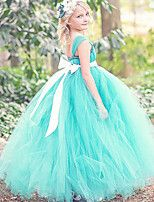 Ball Gown Ankle-length Flower Girl Dress - Tulle / Polyester Sleeveless Spaghetti Straps with