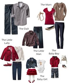 """Family picture outfits- same color scheme but each person has different """"pop"""" piece instead of everyone in jeans and same """"pop"""" color t-shirt. Adds interest."""