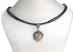 Natural Gemstone Picasso Jasper Pendant Necklace Black Cord Made in USA Gift #Handmade #PendantNecklace #Protection #Healing #Love #Semiprecious #Stone #Goodluck