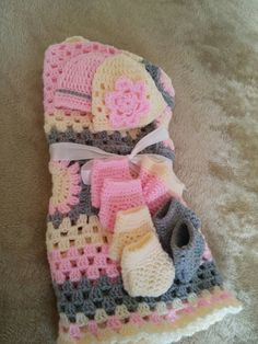 Crochet granny blanket with beannies and socks
