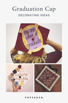 Creative grad caps are one of the most entertaining parts of graduation. Here are 75 creative ways to decorate your own. Graduation Cap Decoration, Graduation Hats, College Graduation, Graduation Ideas, Creative Skills, Creative Ideas, School Fun, School Days, Cap Decorations