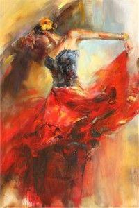 "Anna Razumovskaya Hand Signed and Numbered Limited Edition Artist Embellished Canvas Giclee: ""She Dances In Beauty 1"" - Anna Razumovskaya"