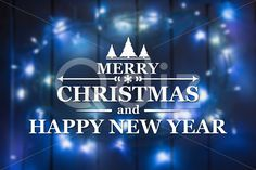 Qdiz Stock Photos | Merry Christmas and New Year greeting card,  #background #blue #blur #blurred #card #celebration #Christmas #eve #greeting #happy #holiday #light #Merry #new #postcard #retro #season #traditional #vintage #winter #xmas #year