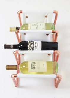 DIY Copper Pipe & Leather Wine Rack
