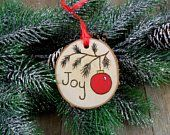 Items similar to Wood Burned Birch Slice Ornament Hand Burned Painted - Joy / Red Christmas Tree Ball on Etsy Wooden Christmas Ornaments, Painted Ornaments, Handmade Ornaments, Rustic Christmas, Christmas Art, Christmas Projects, Christmas Decorations, Ornament Crafts, Holiday Crafts
