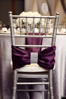 Royal Purple wedding chair bow... LOVE IT! Perfect to put on my Sigma sisters' chairs!