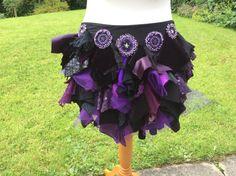 bustle belt, tribal belly dance bustle, purple bustle, rag bustle, fairy costume, fantasy, goth bustle