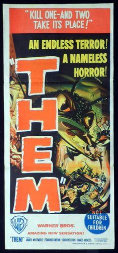 THEM! Vintage Daybill Movie poster Sci Fi Classic art
