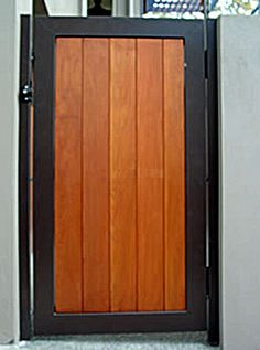 metal and wood gates - Google Search Garden Gates And Fencing, Fence Gate, Fences, Industrial Design Furniture, Furniture Design, Wood Doors, Wood Gates, Cedar Gate, Front Gates