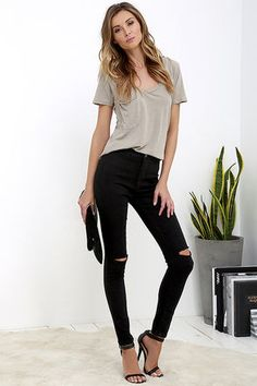 Practice Makes Perfect Black High-Waisted Skinny Jeans at Lulus.com!