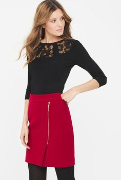 I have this red skirt Skirts With Boots, Red Skirts, Short Skirts, Fall Winter Outfits, Holiday Outfits, Red Boots, High Boots, Work Fashion, Fashion Outfits