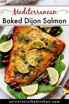 This dijon salmon is our favorite weeknight dinner! It's easy, healthy and super quick! The combination of honey dijon, lemon and dill makes this salmon so delicious. It's made in one pan so clean up is a breeze! #salmonrecipe #bakedsalmon #dijonSalmon #Mediterraneanrecipes Salmon Recipe Videos, Healthy Salmon Recipes, Fish Recipes, Seafood Recipes, Seafood Dishes, Fish Dishes, Paleo Recipes, Main Dishes, Kitchens