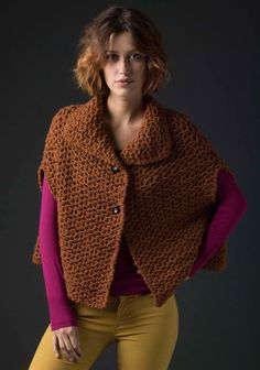 Level 3 Crocheted Poncho - free Lion Brand pattern