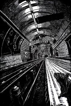ARTFINDER: View Subterranea 1 by Rebecca Coleman - Wood engraving of Kings Cross St Pancras station on the London Underground, showing the northbound Victoria line platform. This work was exhibited at the Roy. Woodcut Art, Linocut Prints, Art Prints, Block Prints, Davidson Galleries, Engraving Art, Train Art, A Level Art, Architecture