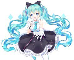 Anime 1835x1500 anime anime girls Vocaloid Hatsune Miku long hair blue hair blue eyes twintails dress