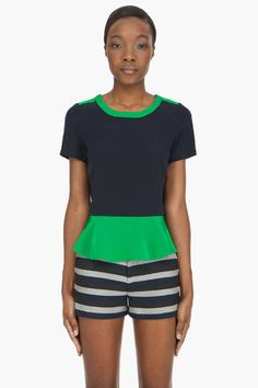Color blocked peplum hides a stomach or creates curves. Your choice. (Marc by Marc Jacobs)