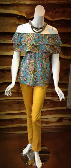 Lots of new arrivals have hit the shelves in the boutique!   Ruffled Turqouise top- $32.00   Mustard Skinny Jeans- $39.00
