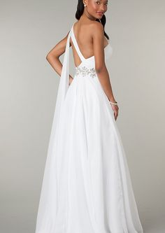 Us 142 99 Custom Made Greek Dess A Line One Shoulder Open Back Chiffon Prom