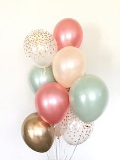 12 Inch Pack of 50 Great for Weddings Birthdays Bridal Shower Decorations Graduation Party Decorations Supplies 3 Style Sogorge Gold Confetti and White Balloons