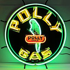 Unique Clock Works - Polly Gas, Neon Sign, Silkscreened Image, $349.00 (http://uniqueclockworks.com/neon-signs/gas-and-oil-neon/polly-gas-neon-sign-silkscreened-image/)