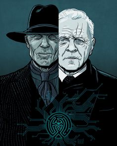 Man in Black & Dr. Robert Ford (Westworld Illustration) by @DavidMBuisan on Twitter and Instagram.