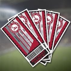 Alabama Crimson Tide Birthday Party Ticket Invitations