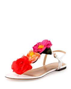 X2ERK Charlotte Olympia Rosario Floral Flat Thong Sandal