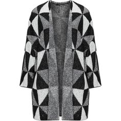 Via Appia Due Black / Cream Plus Size Graphic weave cardigan ($73) ❤ liked on Polyvore featuring tops, cardigans, black, plus size, cream cardigan, plus size cardigans, open knit cardigan, open cardigan and patterned cardigans
