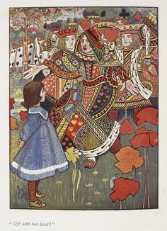 Alice with the Red Queen from an illustrated edition of Alice's Adventures in Wonderland by Charles Robinson, 1907 #AliceinWonderland