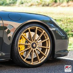 AWE Tuning​'s Slate Gray 991 Porsche 911 Twin Turbo S on Forgeline one piece forged monoblock GT1 wheels finished in Satin Gold! See more at: http://www.forgeline.com/customer_gallery_view.php?cvk=1207  #Forgeline #forged #monoblock #GT1 #centerlock #notjustanotherprettywheel #madeinUSA #Porsche #991TTS