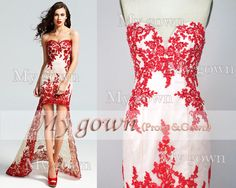 2014 Red Prom Dress,Strapless Hi-low Gown Rich Beaded Lace Applique Prom Dress, Cocktail Dress,Dresses,Wedding Dress,Formal Dresses on Etsy, $179.90