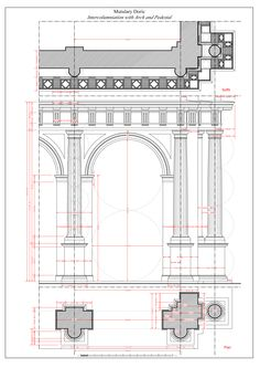 Mutulary Doric: Intercolumniation with Arch and Pedestal